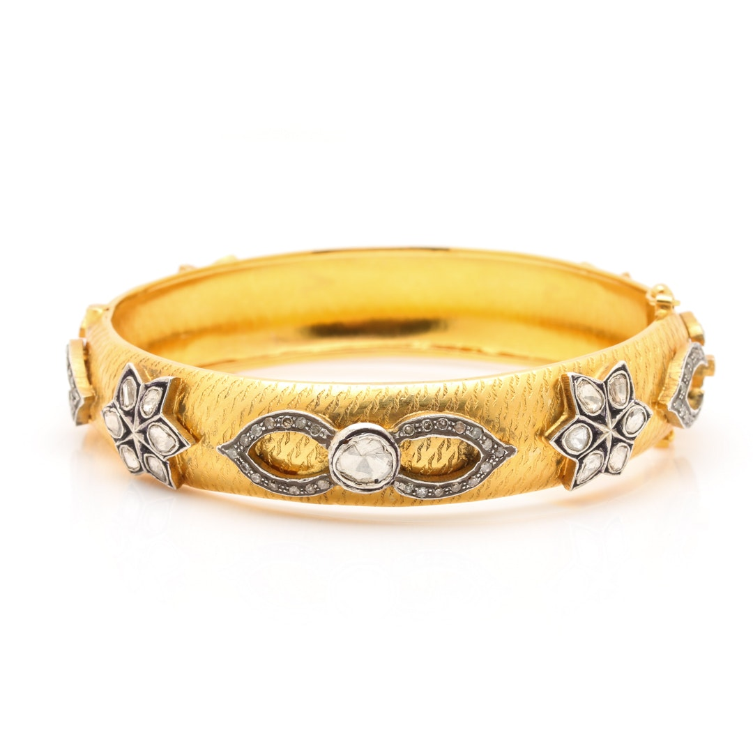 Gold-Plated 1.04 CTW Diamond Hinged Bangle with Sterling Silver Accents