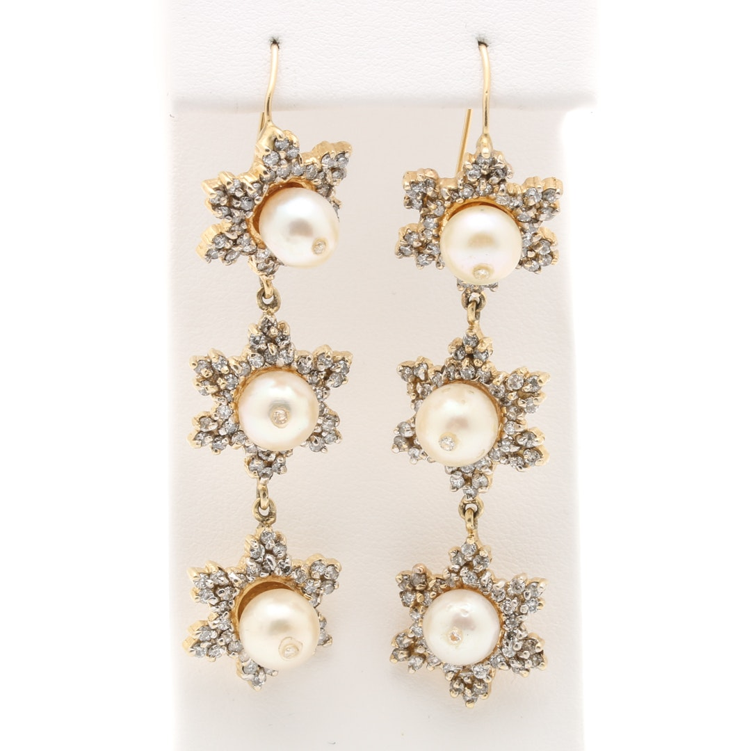 14K Yellow Gold Cultured Pearl, White Sapphire, and 3.24 CTW Diamond Earrings