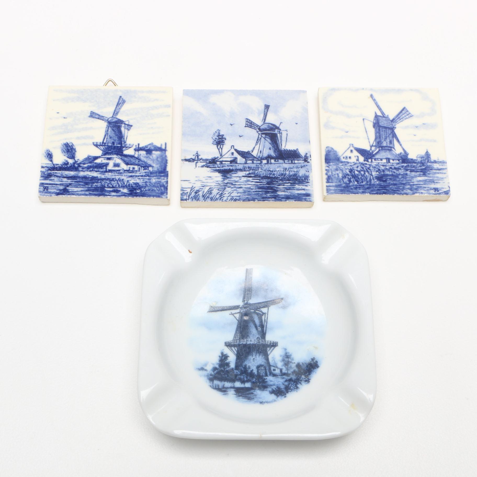 Delft Porcelain Ash Receiver and Tiles