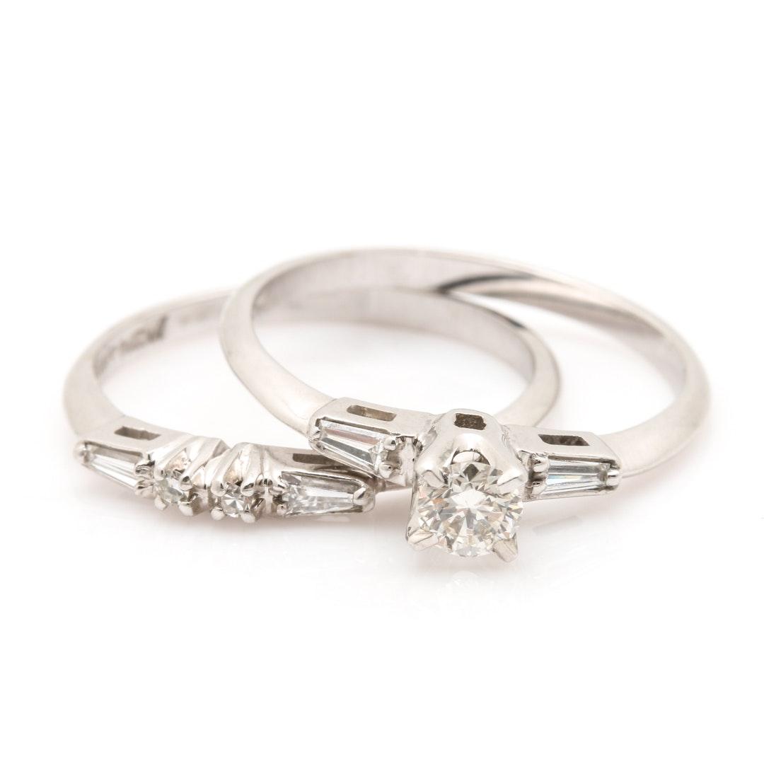 14K White Gold 0.44 CTW Diamond Ring Set