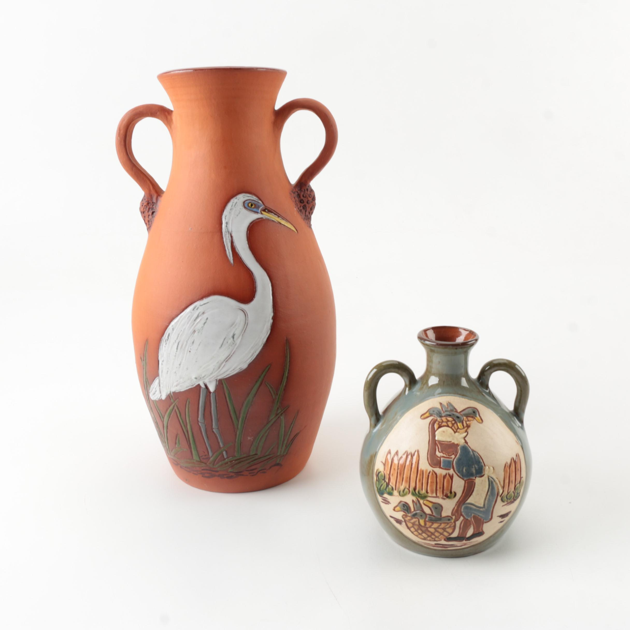 Lama Craft Guyana Signed Pottery Vases