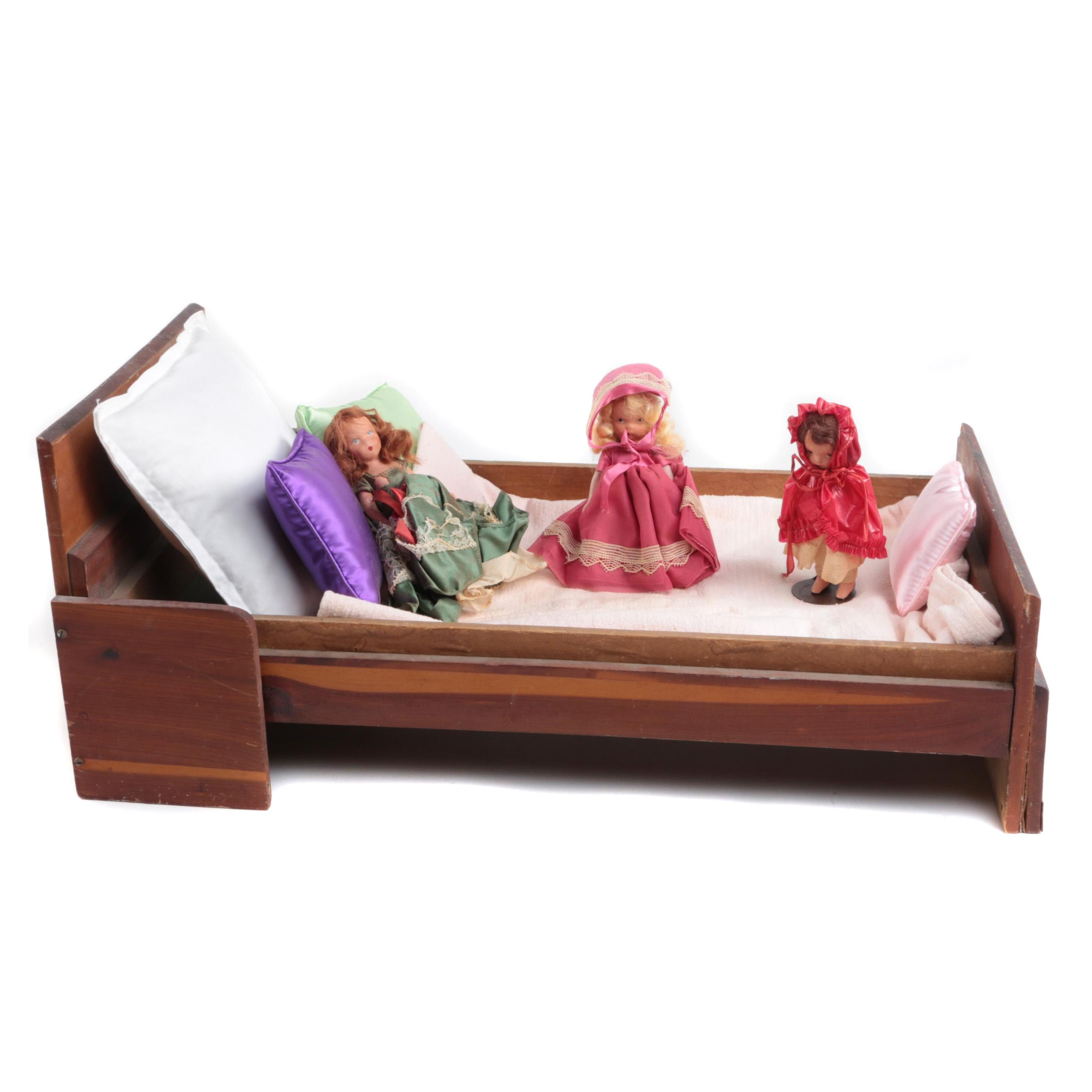 """Vintage Nancy Ann """"Story Book"""" Dolls and Wooden Doll Bed"""