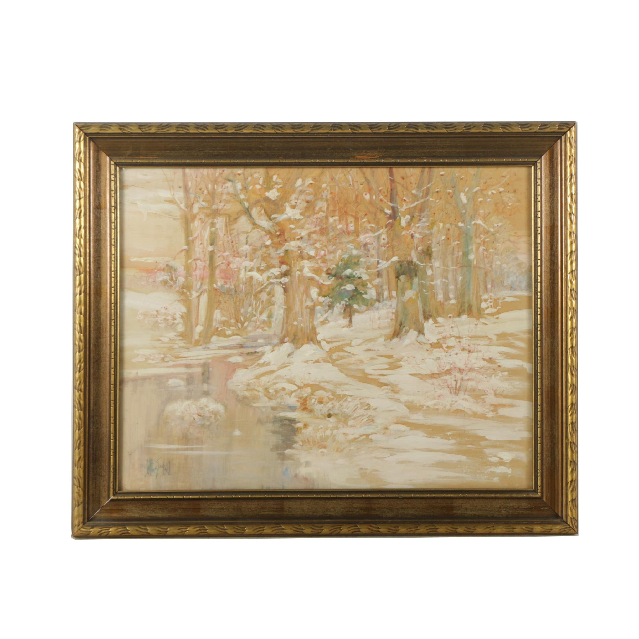 John Albert Seaford Mixed Media Painting on Paper of Snowy Landscape