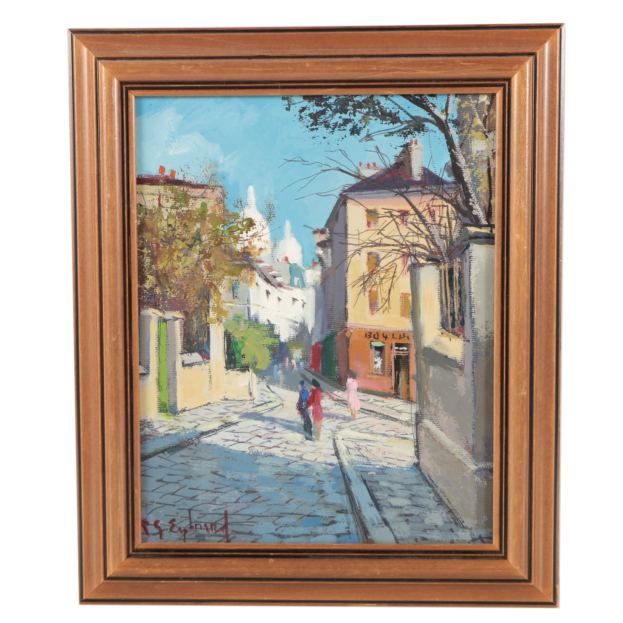 R.G. Eybrard Oil on Canvas of a French Street Scene