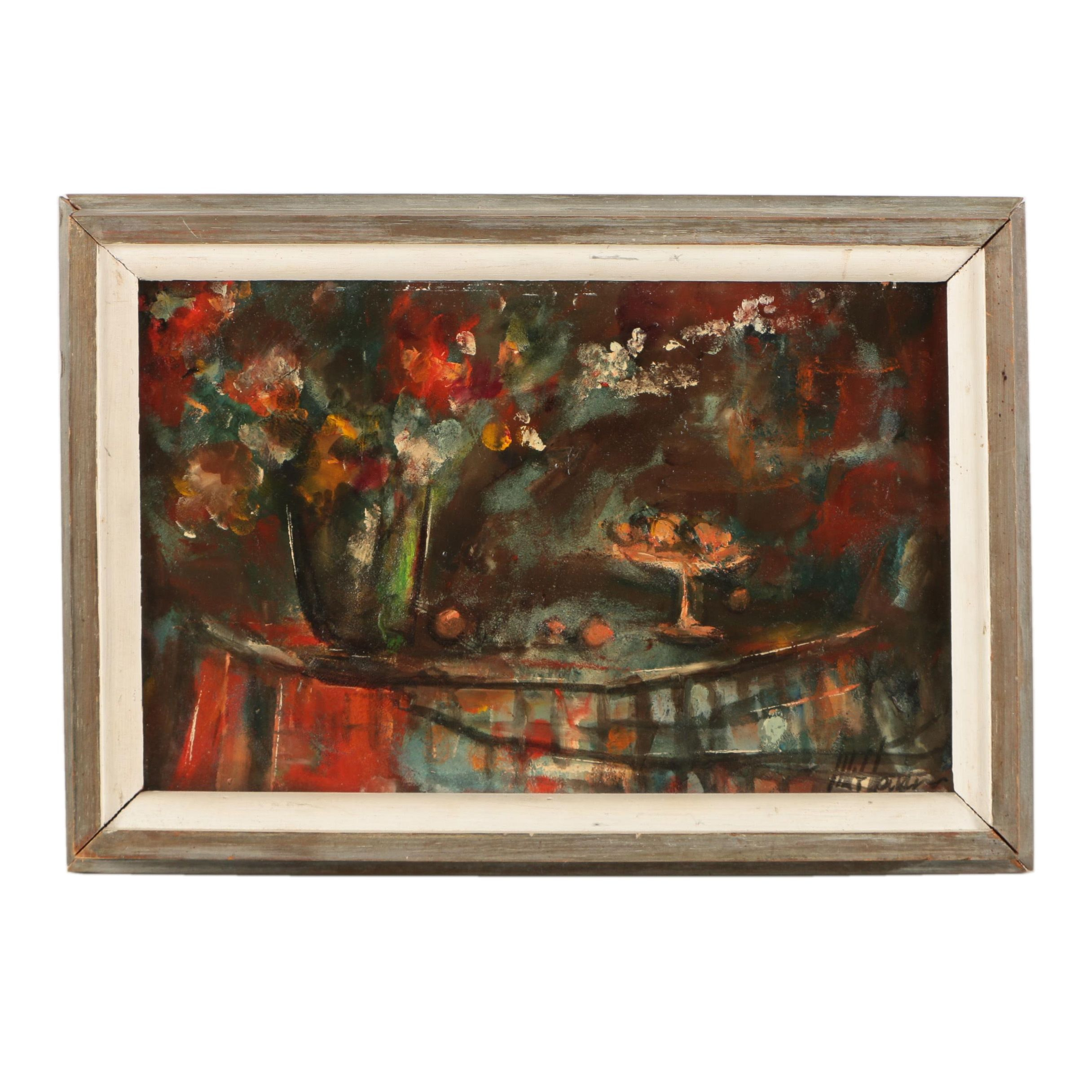 Oil Painting on Panel of a Still Life