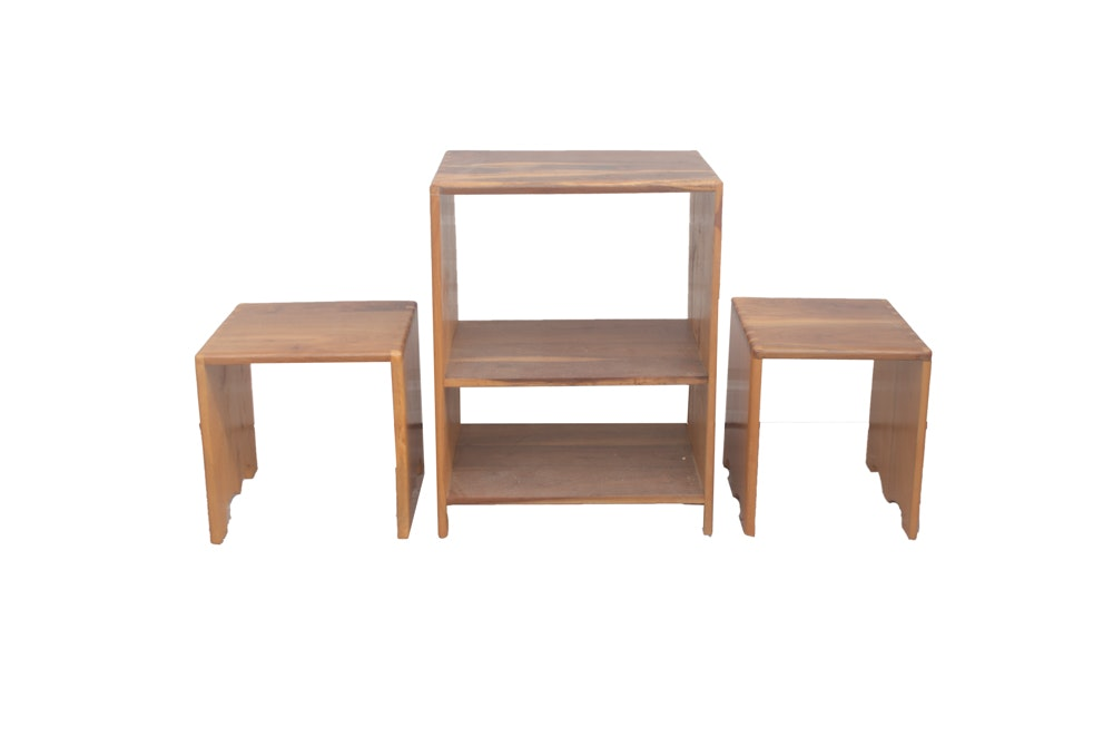 Set of Walnut Dovetailed Tables and Bookshelf