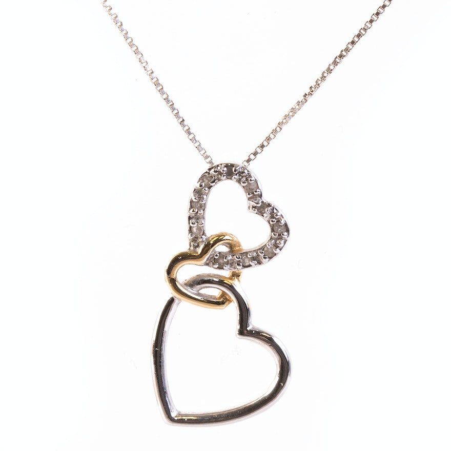Sterling silver and diamond triple heart pendant necklace ebth sterling silver and diamond triple heart pendant necklace aloadofball Images