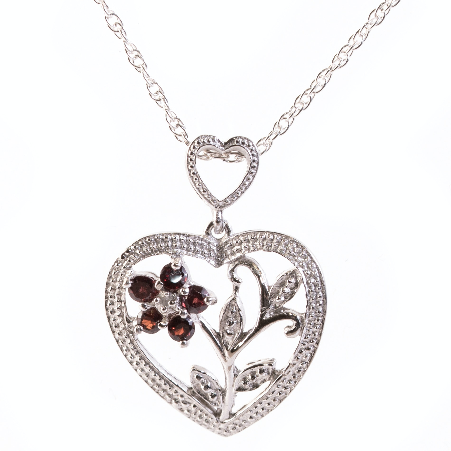 Sterling Silver, Garnet and Diamond Flower Pendant Necklace