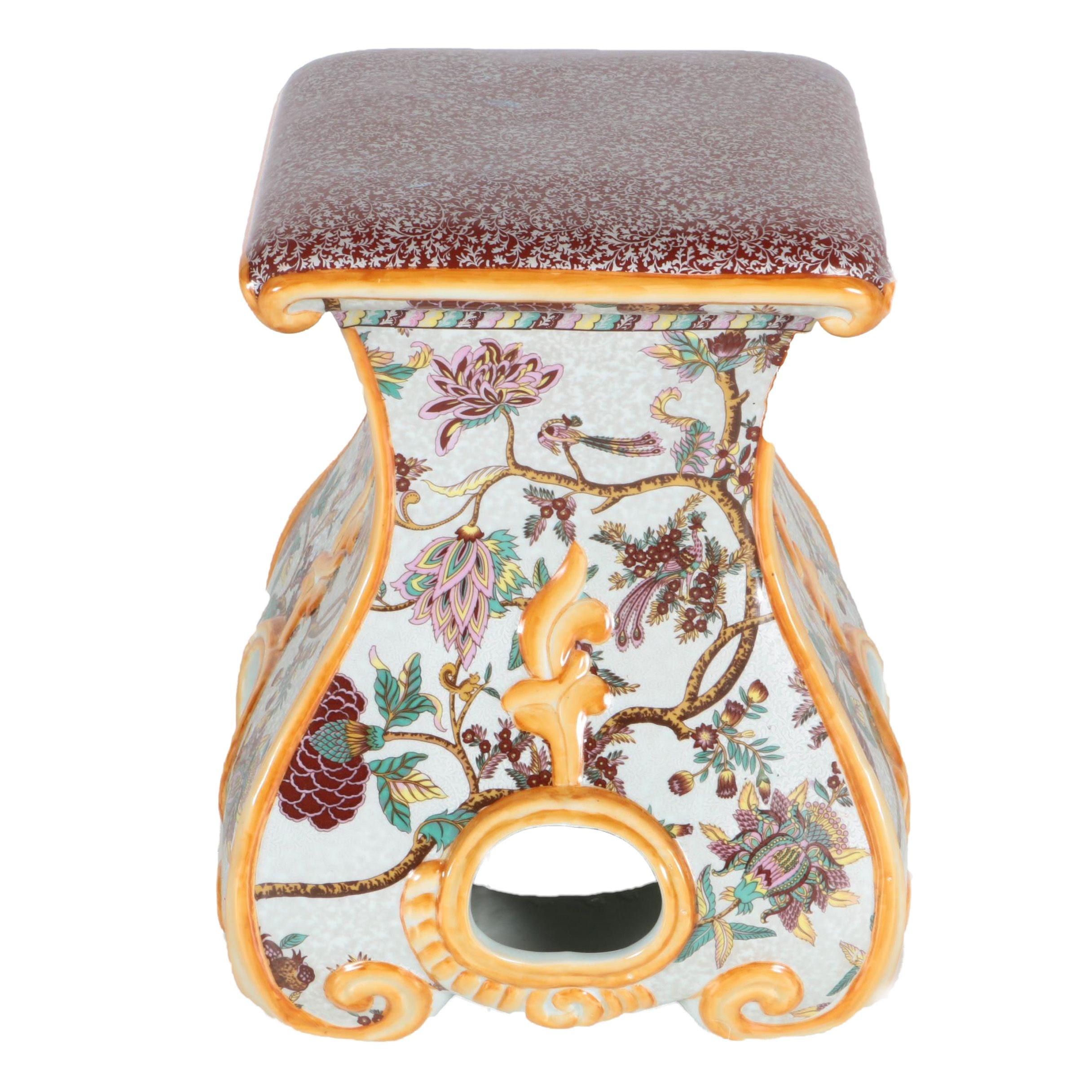 Chinese Inspired Ceramic Garden Stool Ebth