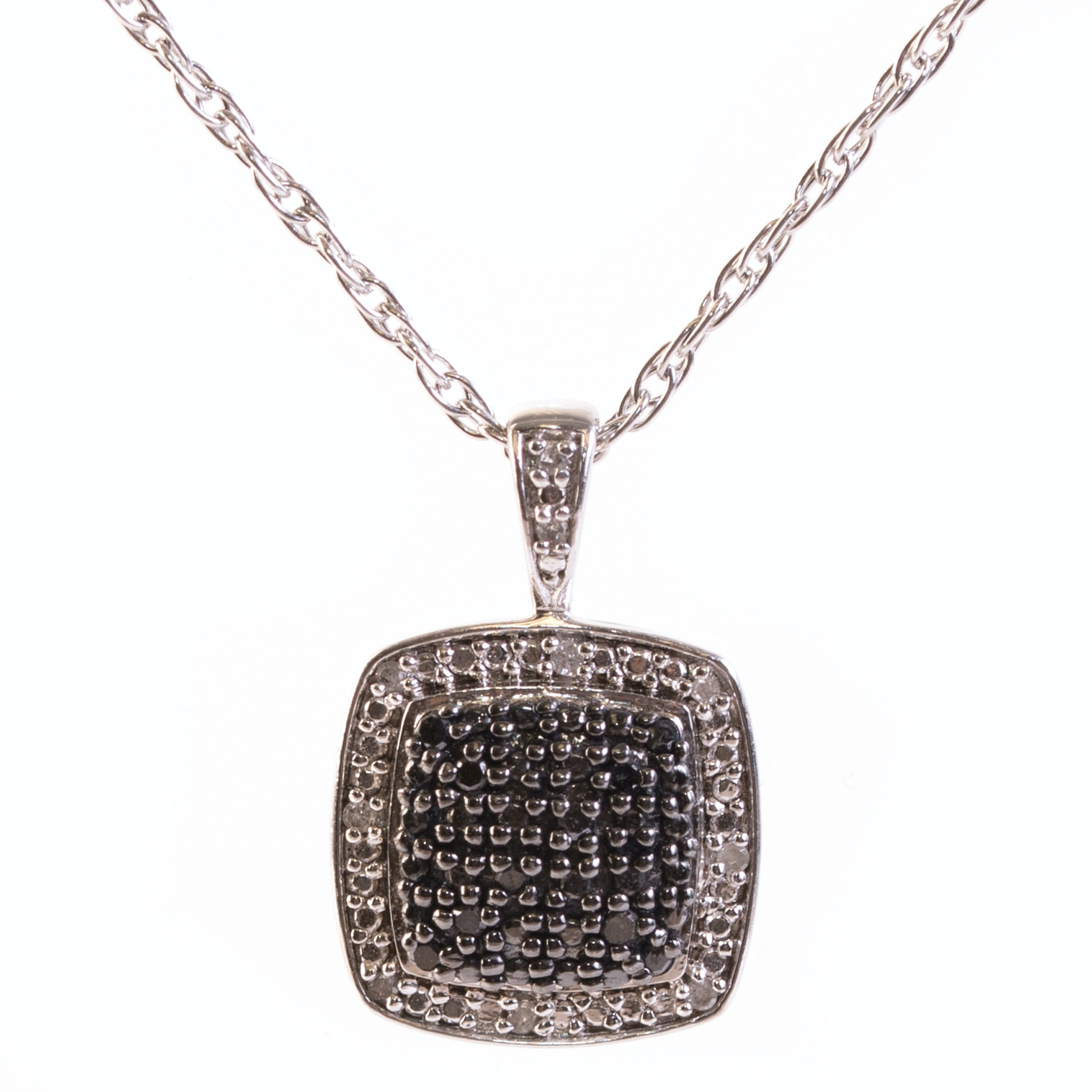 Sterling Silver and Diamond Cluster Pendant Necklace