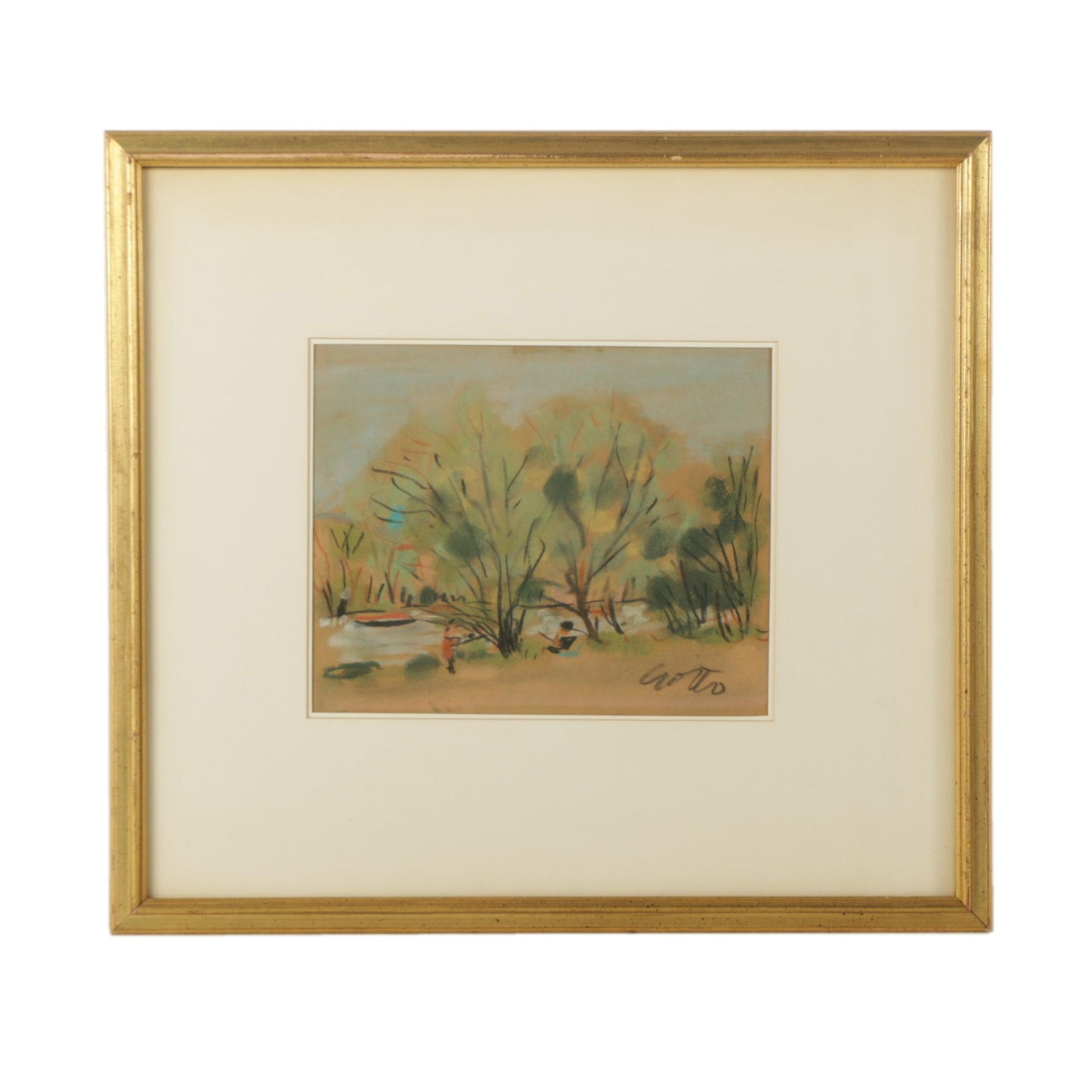 Paul Crotto Pastel Drawing of a Landscape