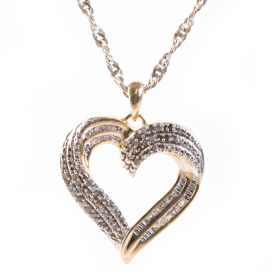 Sterling silver and diamond heart pendant necklace ebth sterling silver and diamond heart pendant necklace mozeypictures Choice Image
