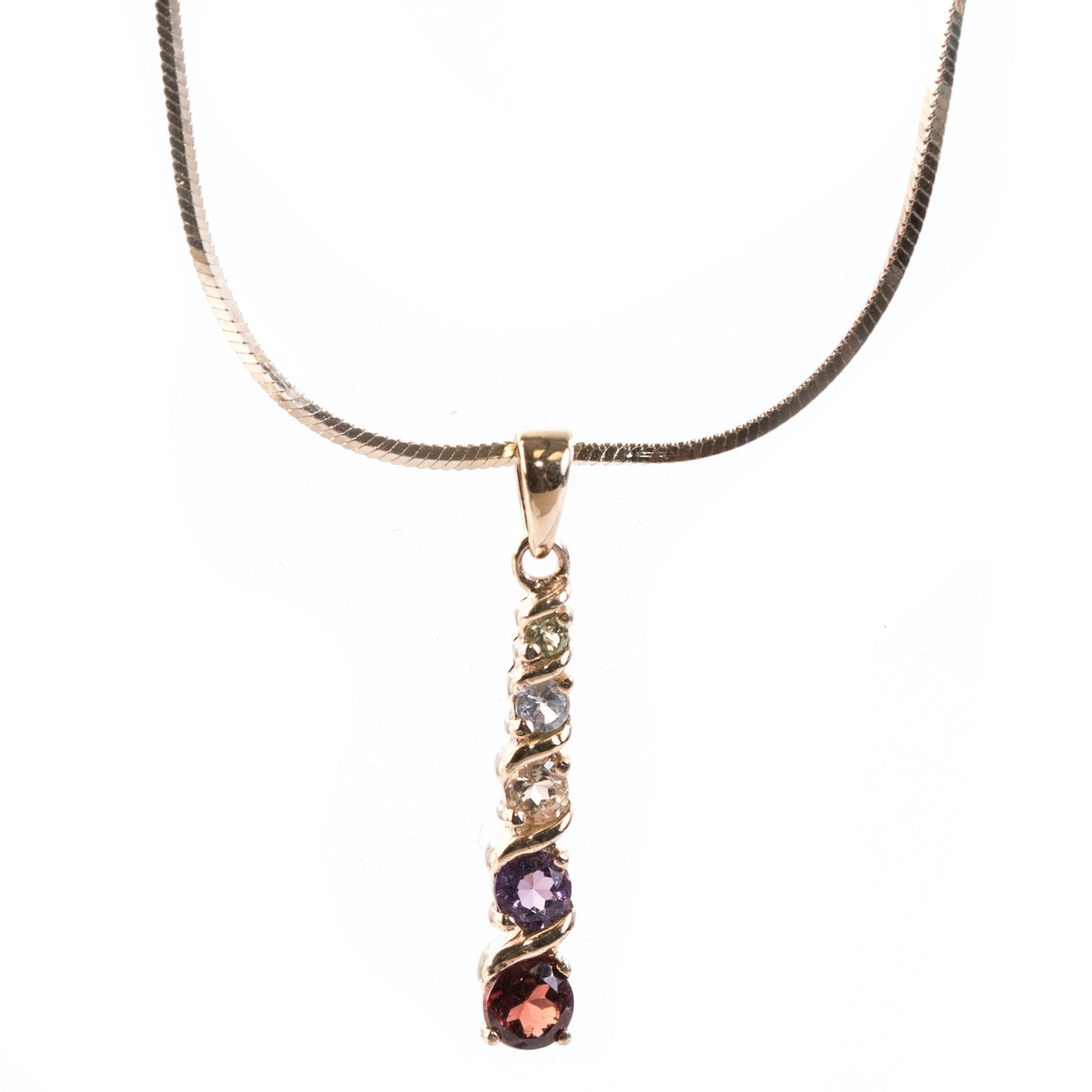 Gold Wash Sterling Silver Five Stone Drop Pendant Necklace