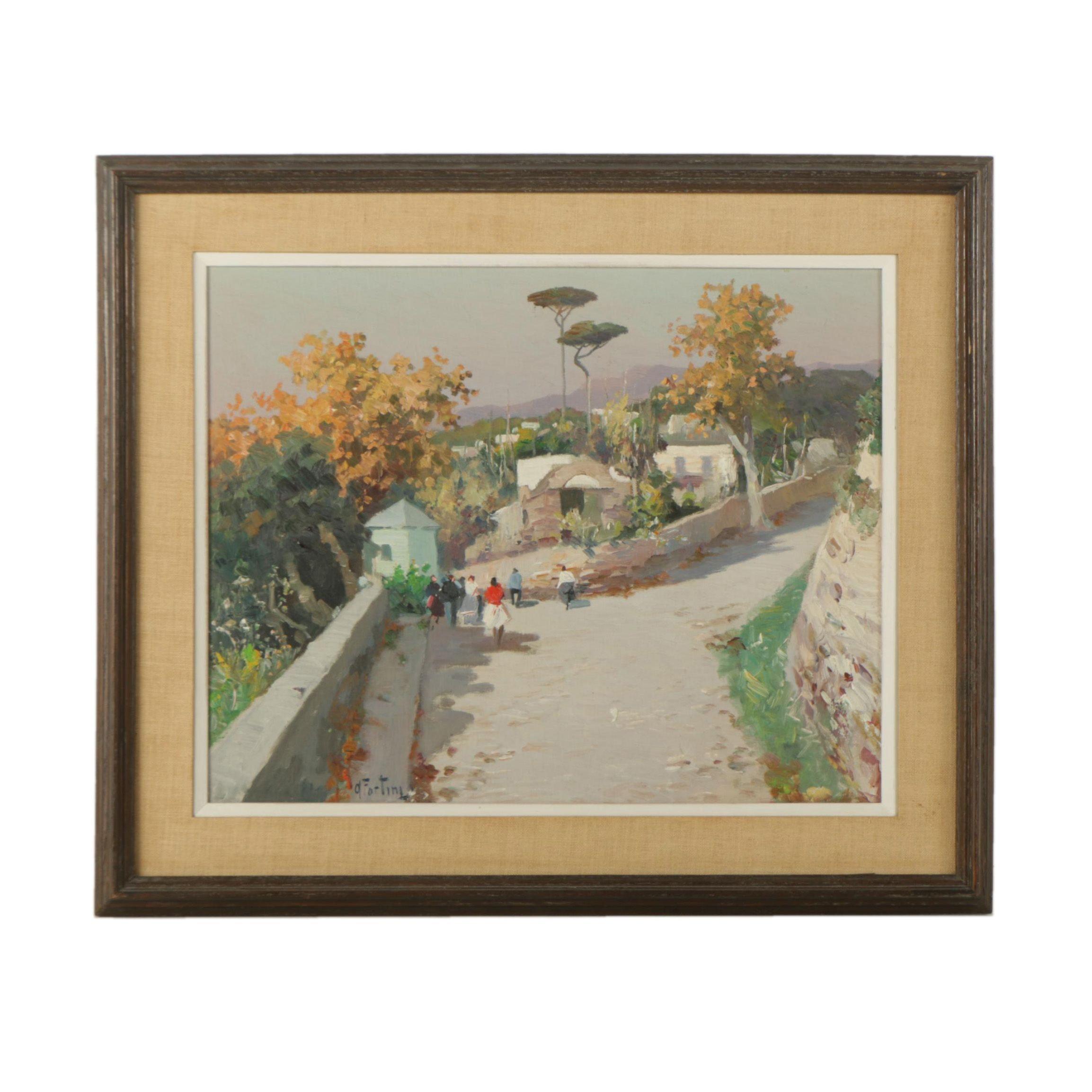 Andrea Fortini Oil Painting on Panel of Italian Vista