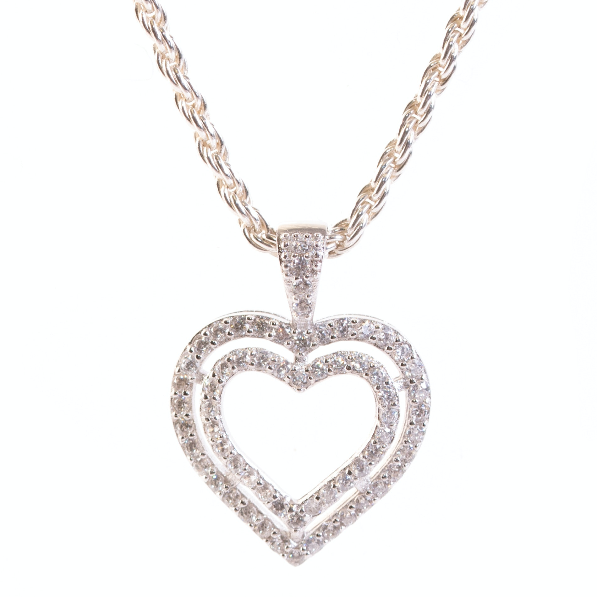 Sterling Silver and Cubic Zirconia Double Open Heart Pendant Necklace