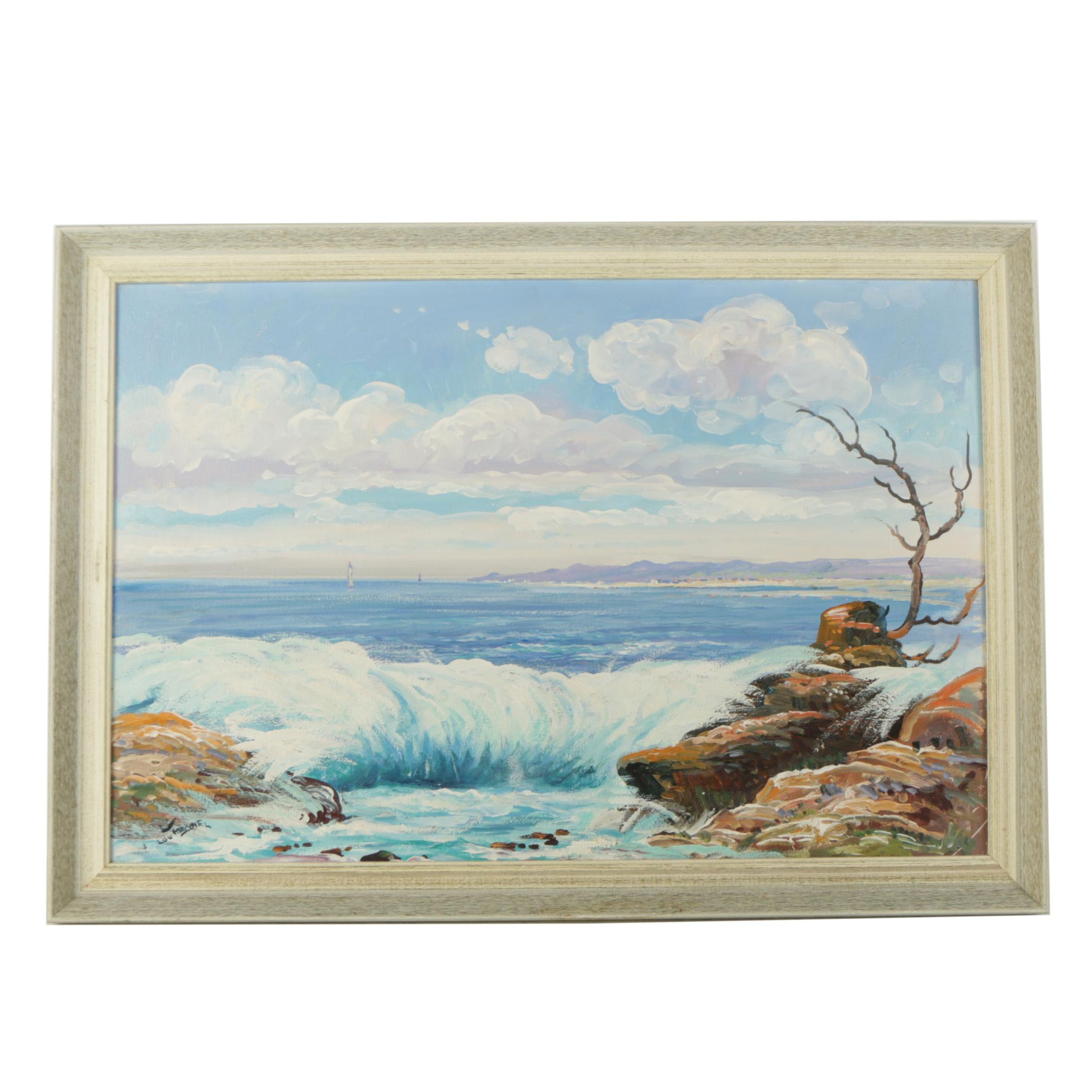 Lou Meonel Oil Painting of a Beach Scene