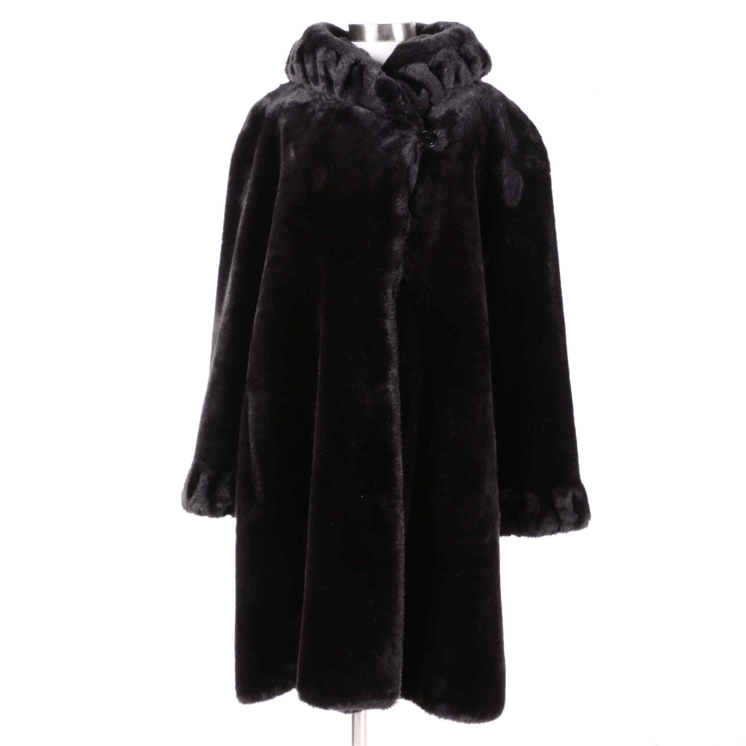 Women's Jones New York Black Faux Fur Full-Length Coat