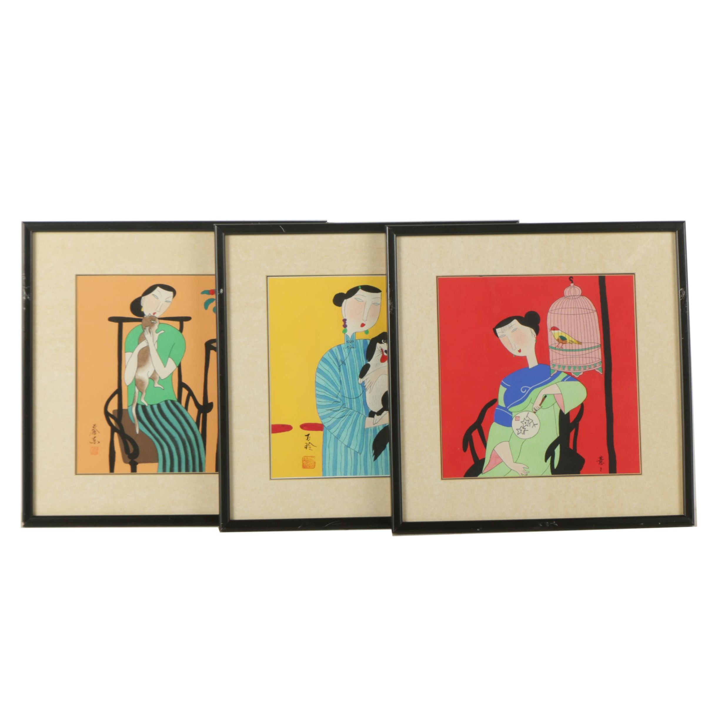 Trio of Mixed Media Paintings on Paper of Women with Pets