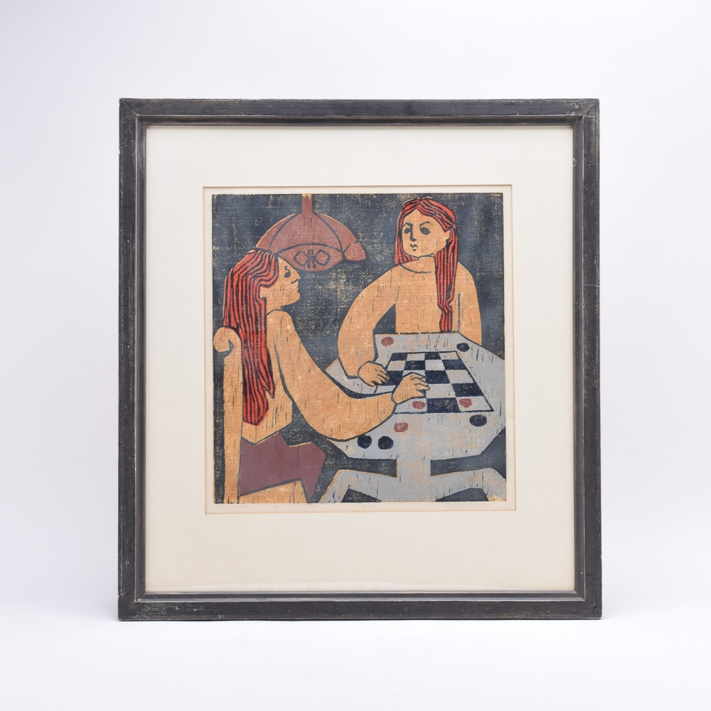 """Barbara Young Limited Edition Relief Print """"The Match"""""""