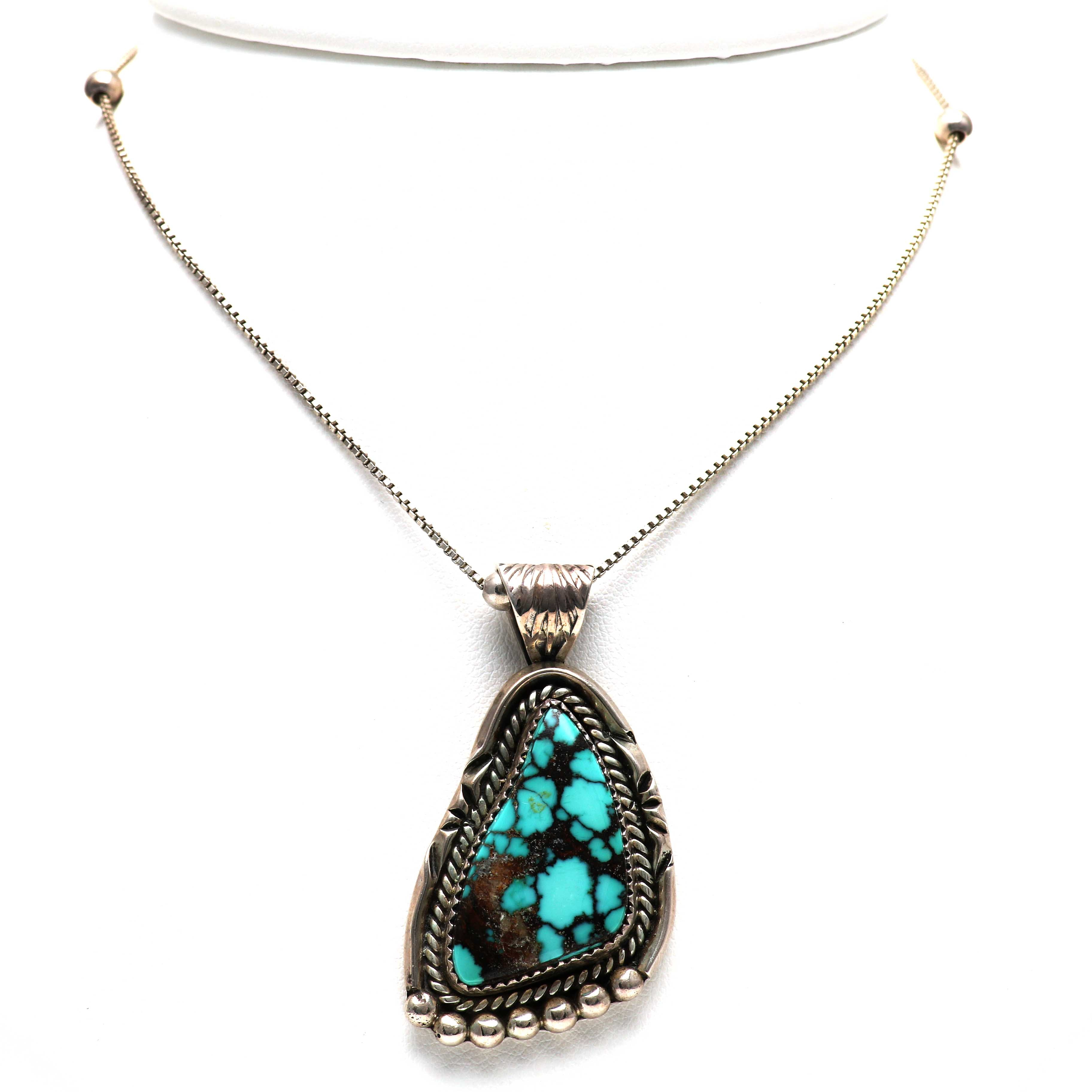 Navajo Sterling Silver Turquoise Necklace By J. Abeyta
