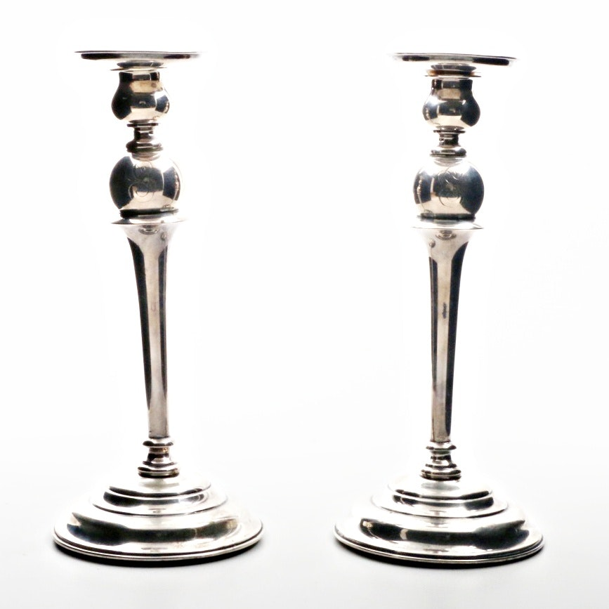 Pair of Sterling Silver Candlesticks, Monogrammed