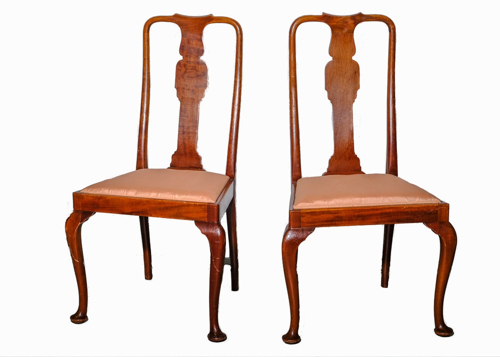Pair of Vintage Queen Anne Style Walnut Side Chairs