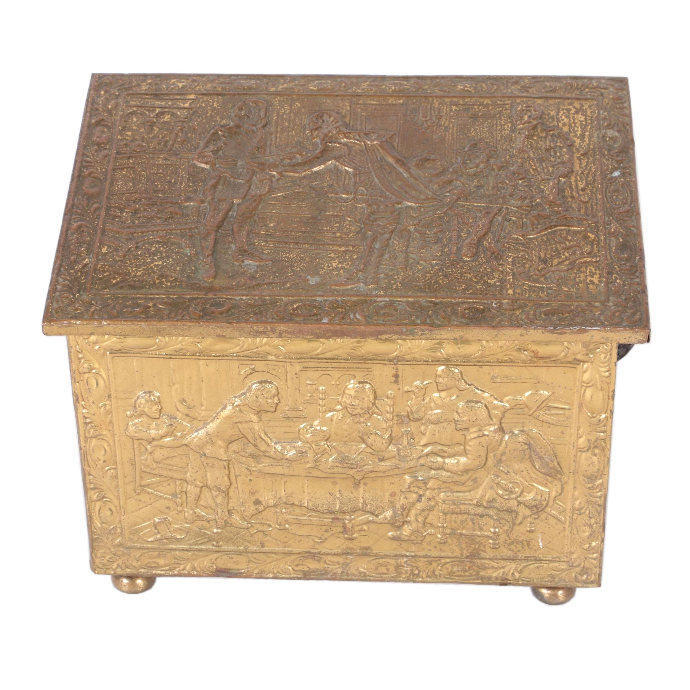 Brass Embossed Covered Wooden Box