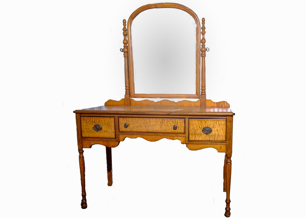 Vintage French Provincial Style Curly Maple Vanity