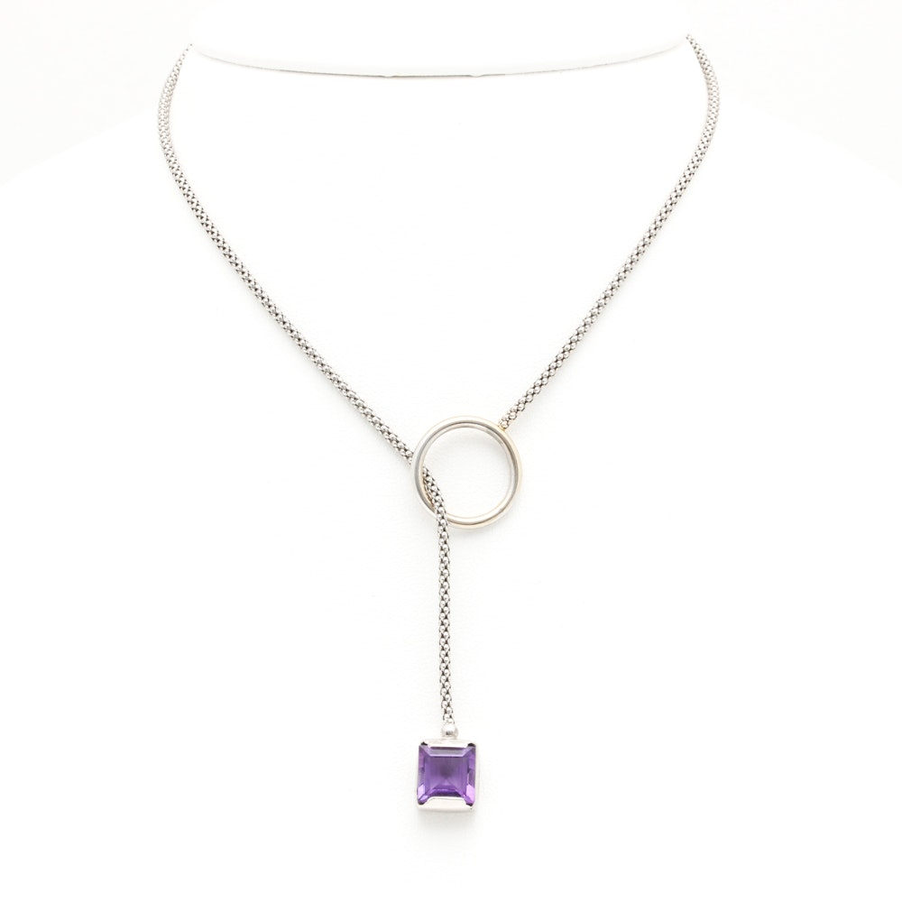 14K White Gold Amethyst Toggle Necklace