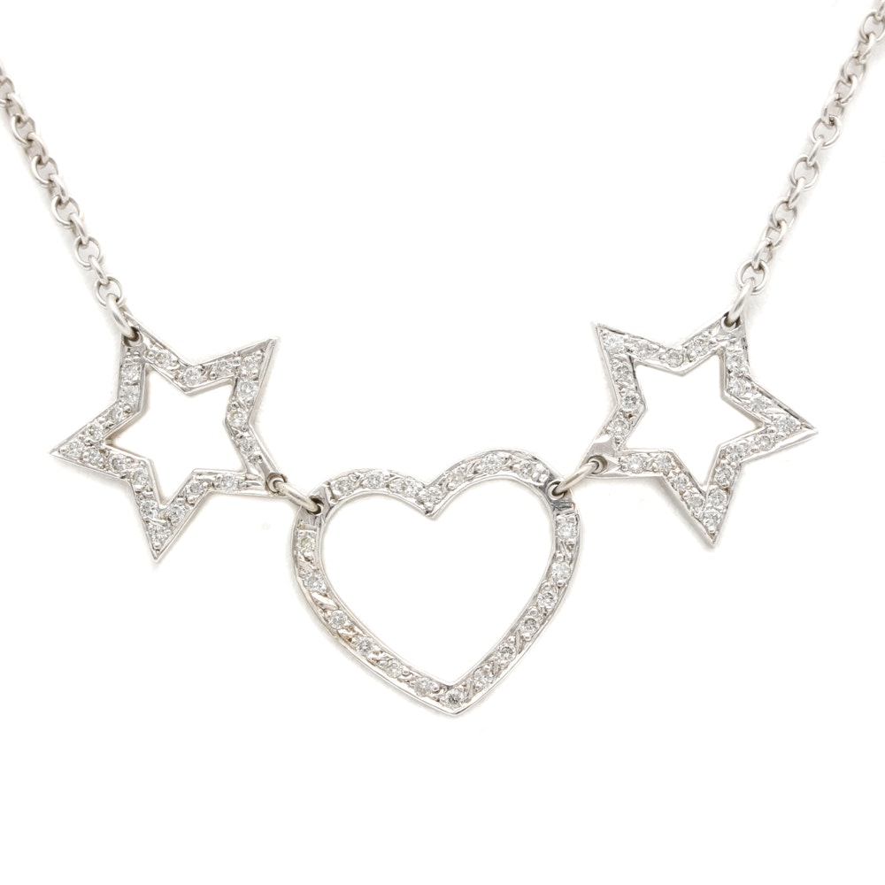 14K White Gold Diamond Heart and Star Pendant Necklace