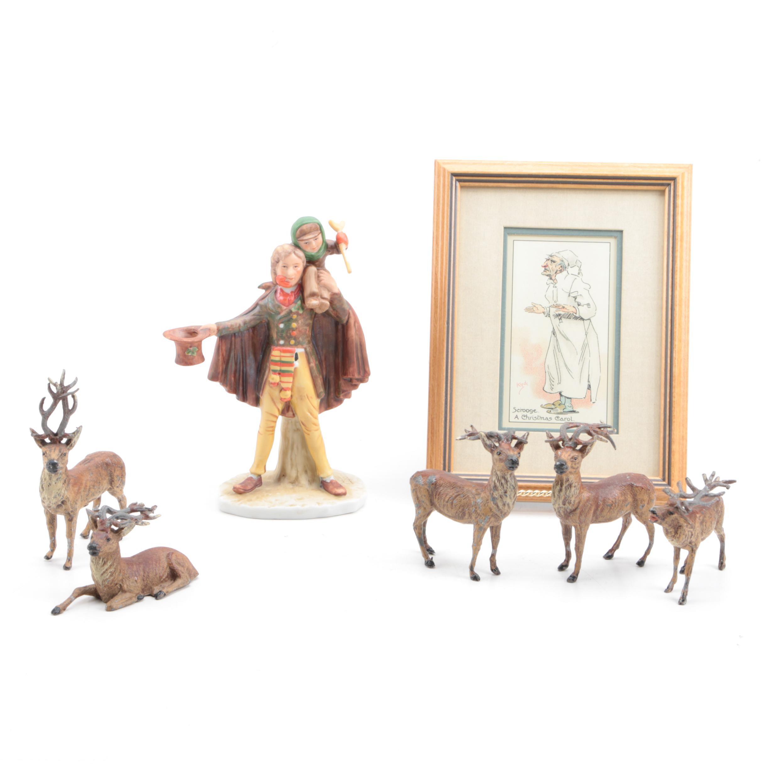 "Norman Rockwell ""Tiny Tim"" Figurine, ""A Christmas Carol Print"" and Reindeer"