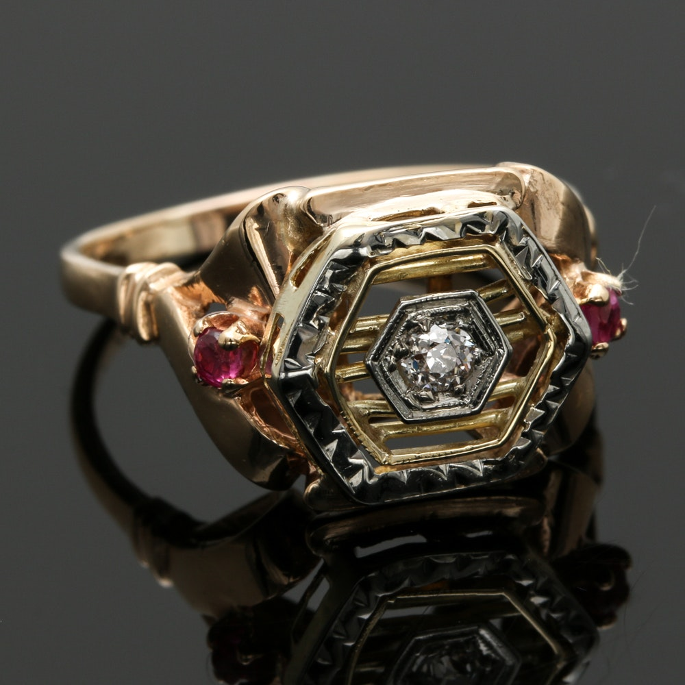 1940's Retro 14K Two-Tone Gold Diamond and Ruby Ring