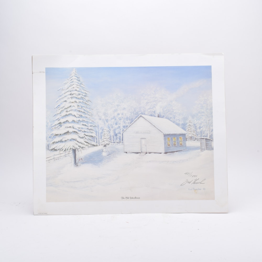 "Fred Thrasher Limited Edition Offset Lithograph on Paper ""The Old Schoolhouse"""