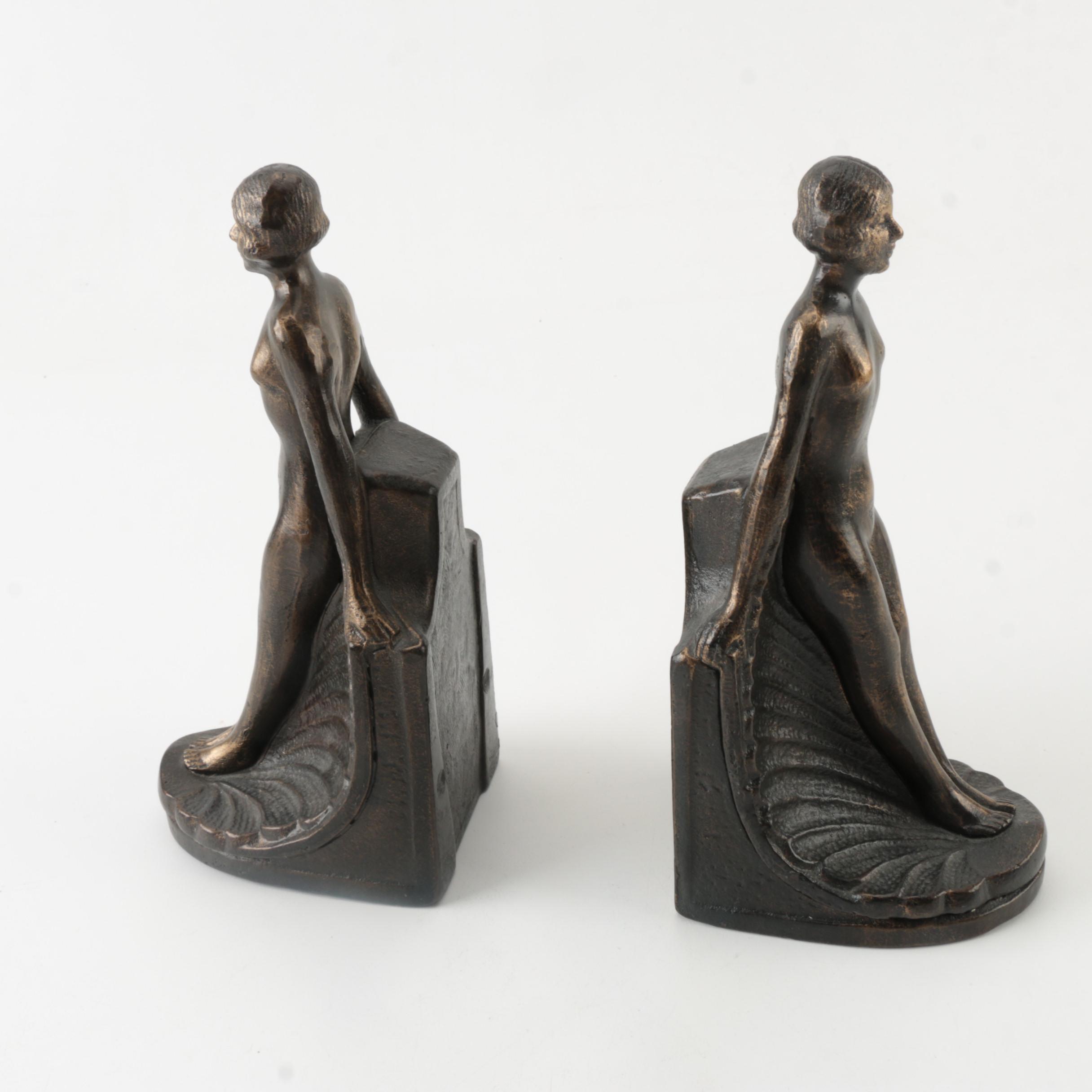 Female Figural Art Deco Style Bookends