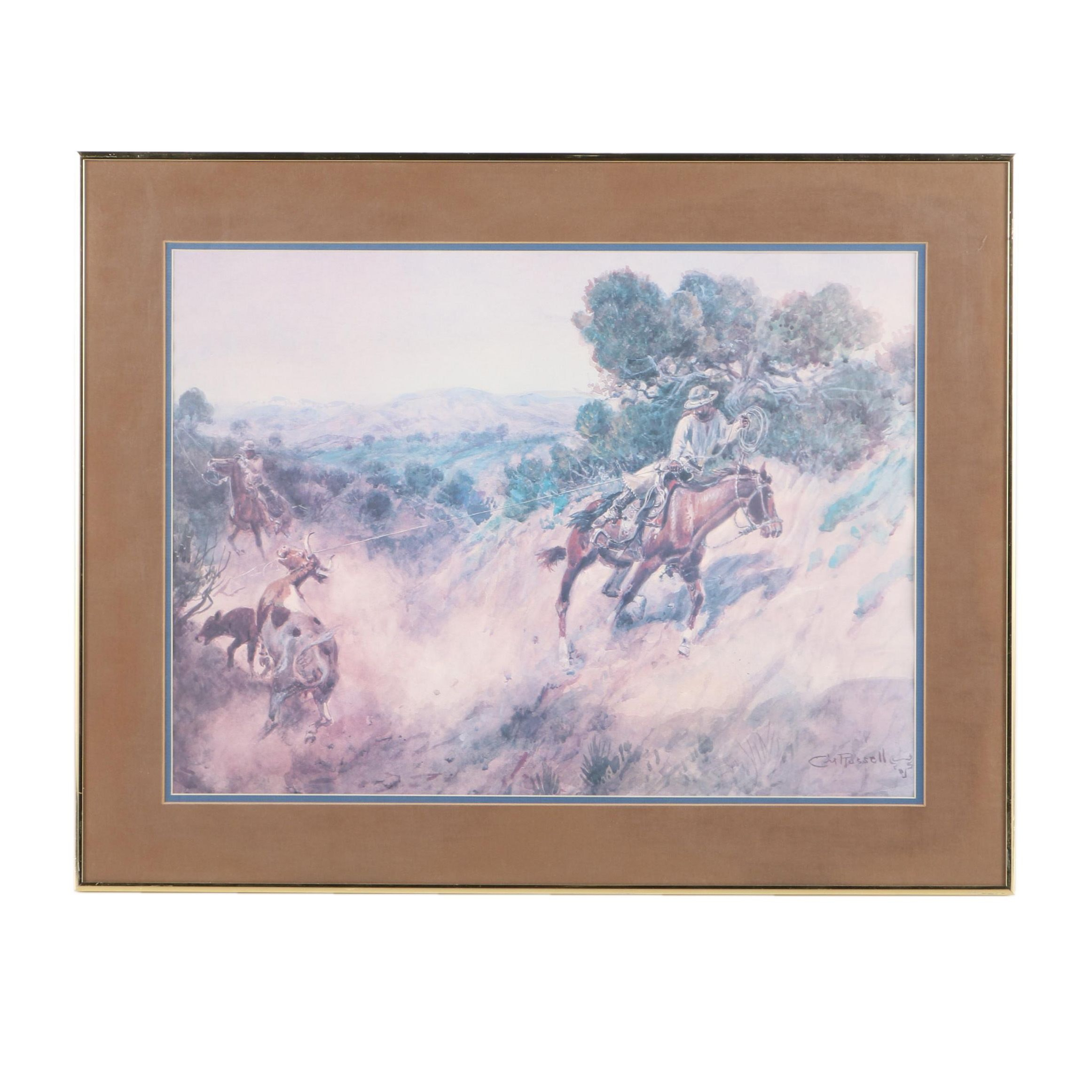 Offset Lithograph After Charles M. Russell Western Scene