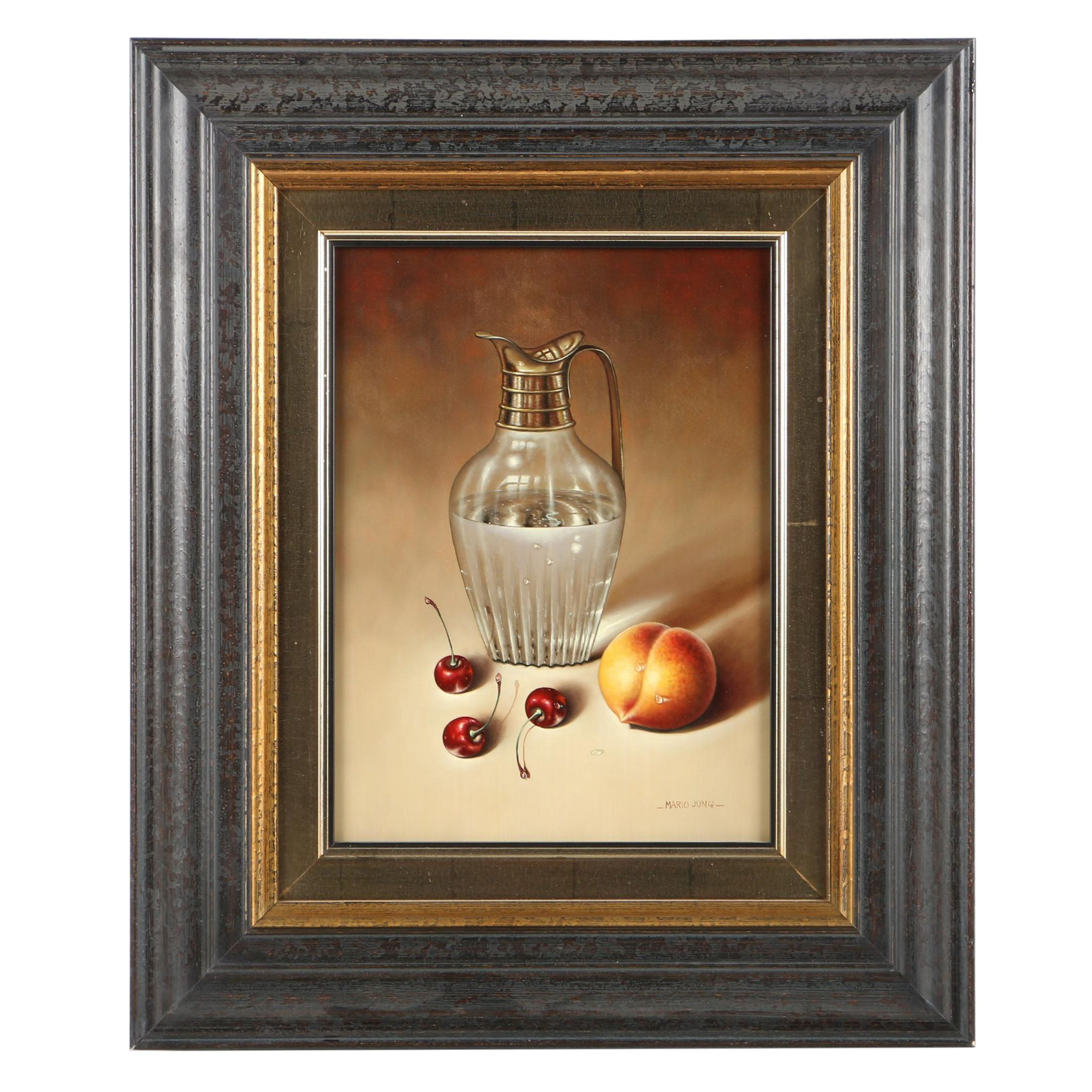 Mario Jung Oil Painting on Board of Fruit and a Crystal Pitcher