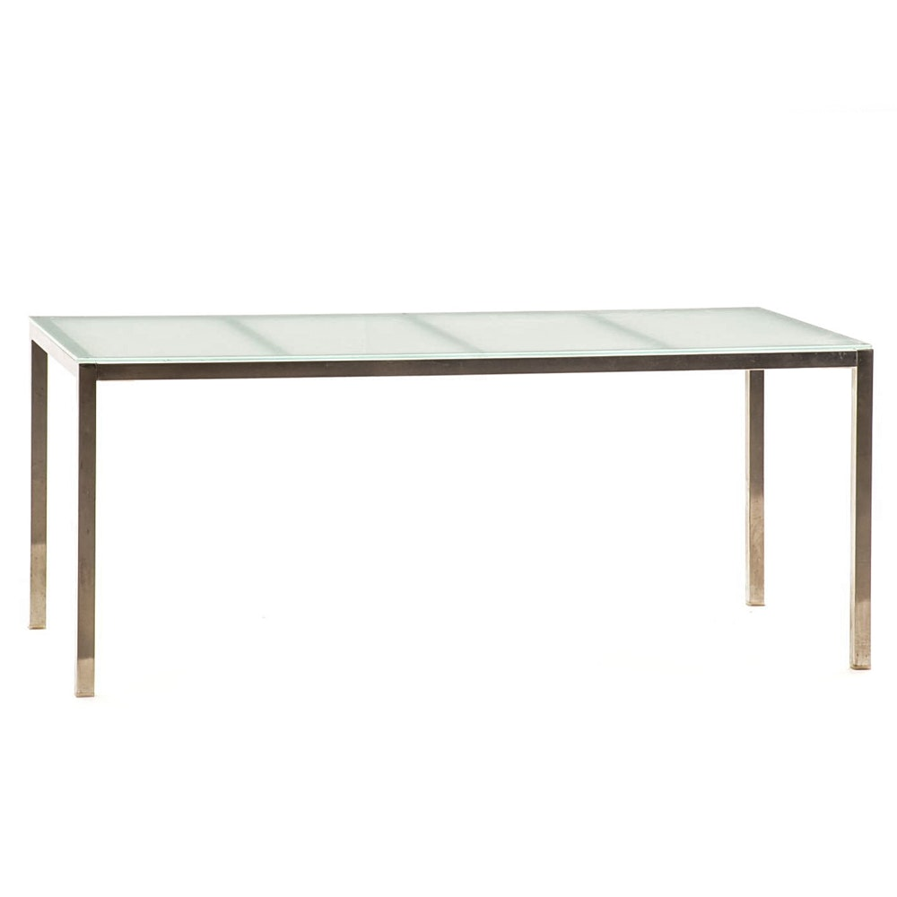 Contemporary Chrome and Frosted Glass Dining Table