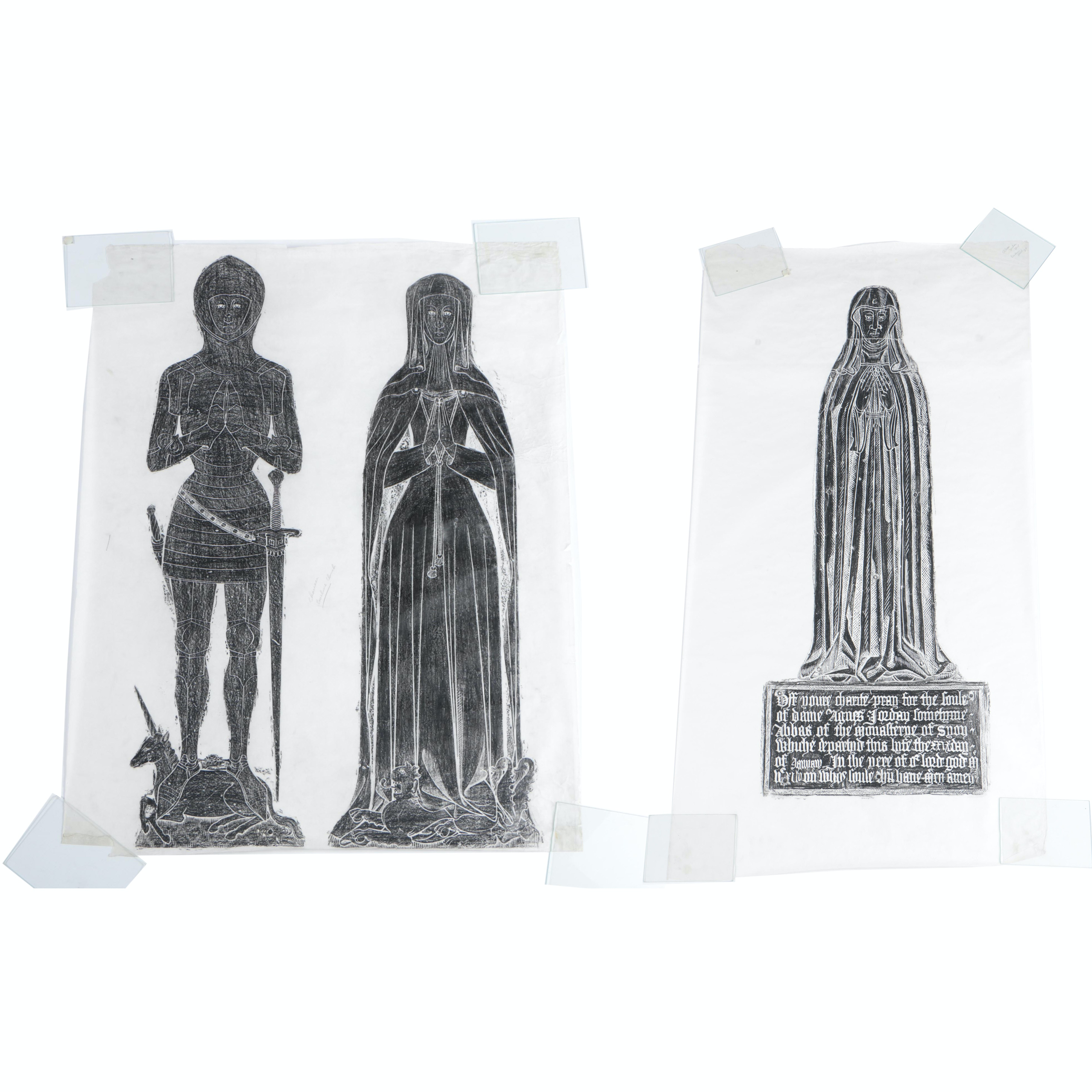 Medieval Brass Tomb Rubbings on Parchment Paper
