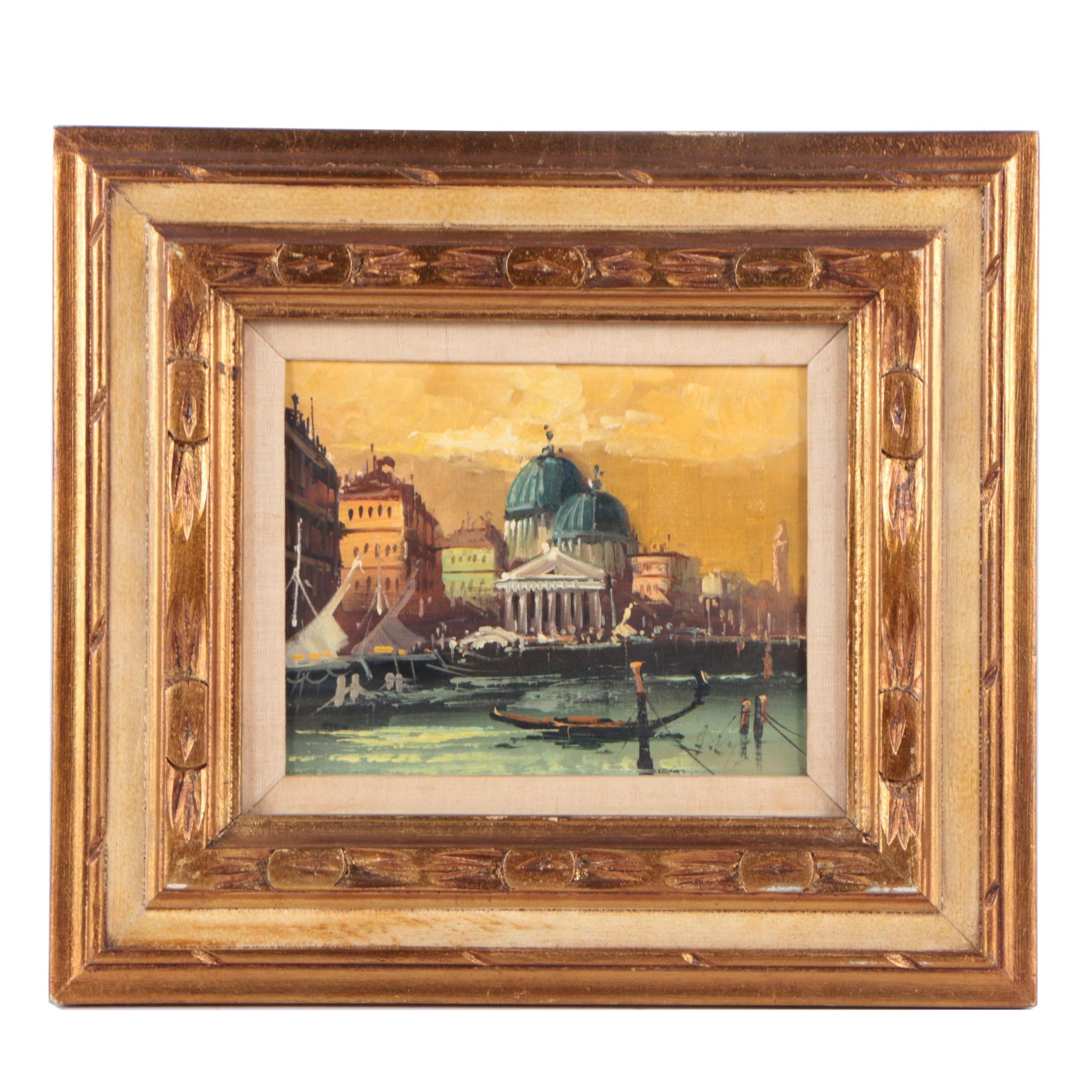 Oil Painting of a Venetian Canal