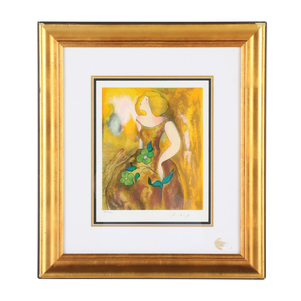 Linda Le Kinff Limited Edition Serigraph of a Woman