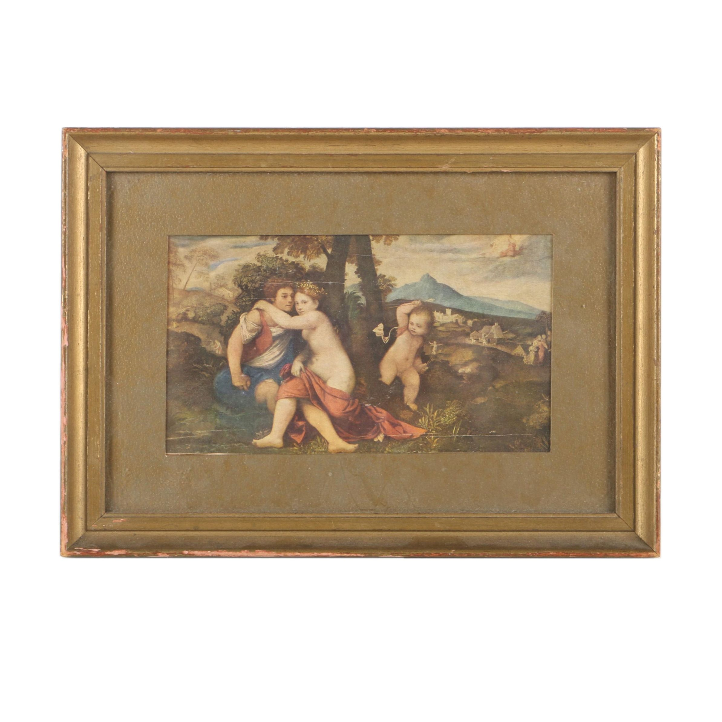 Offset Lithograph Print of Venus, Vulcan, and Cupid