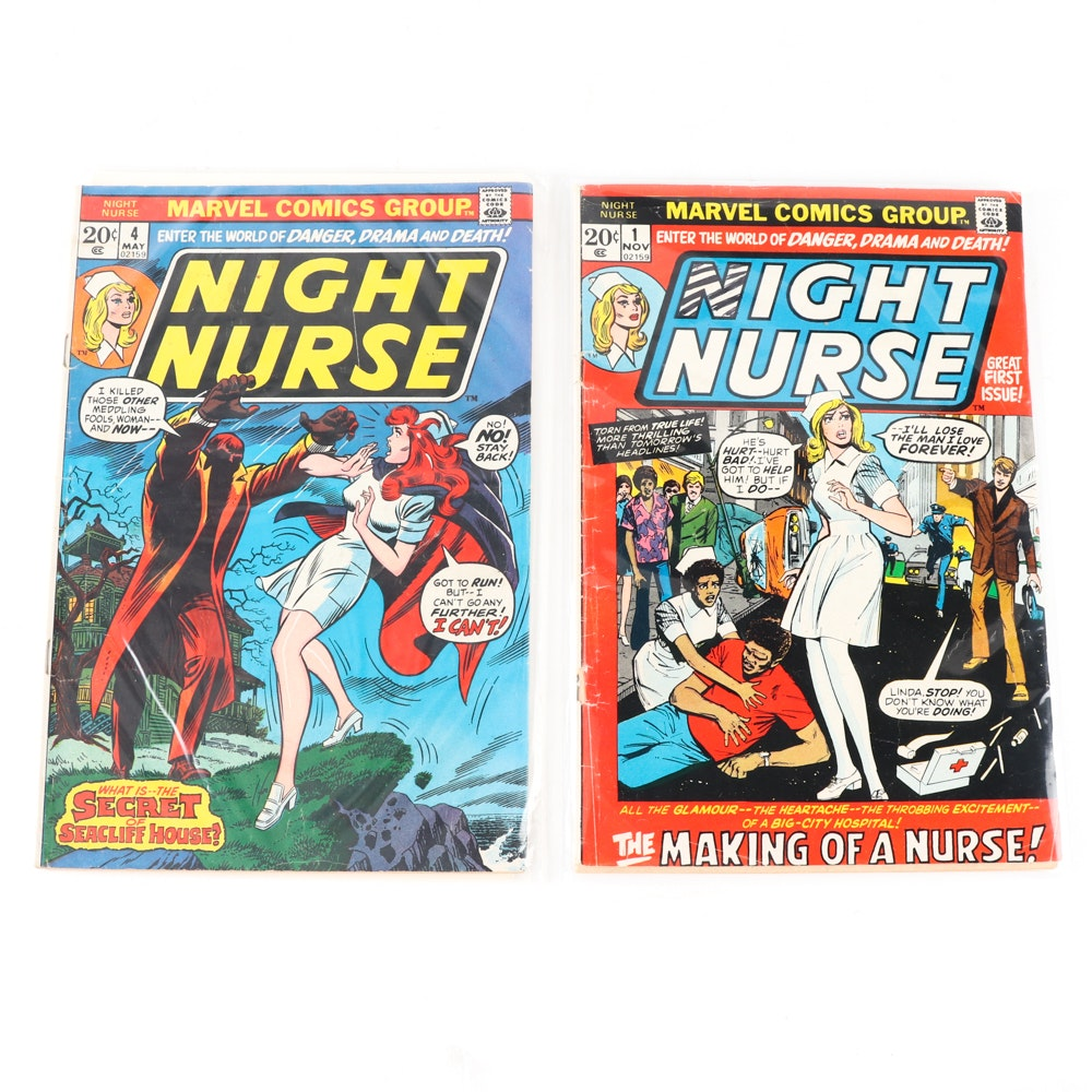 "1973 Marvel Comics ""Night Nurse"" Issues One and Four"
