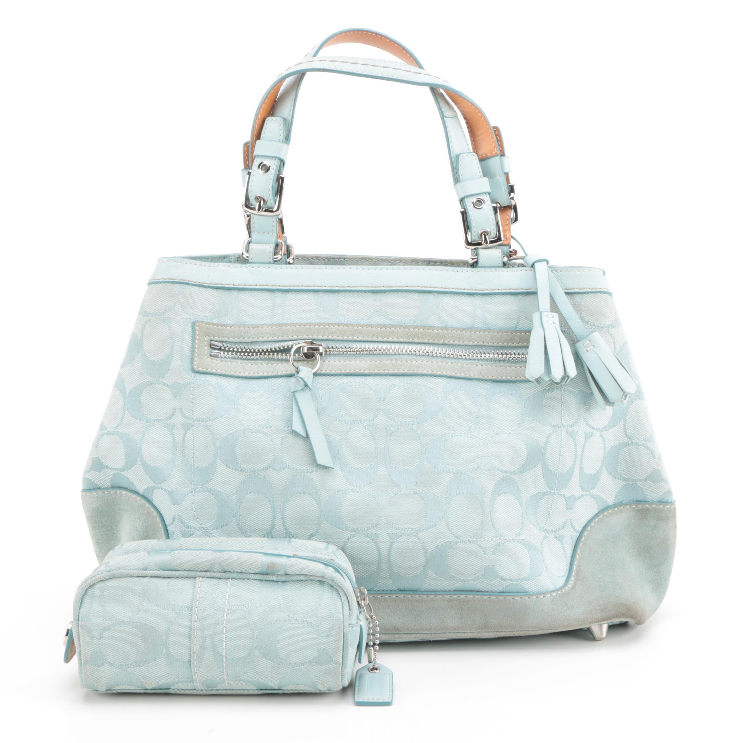 Coach Signature Canvas and Leather Carryall with Zip Pouch