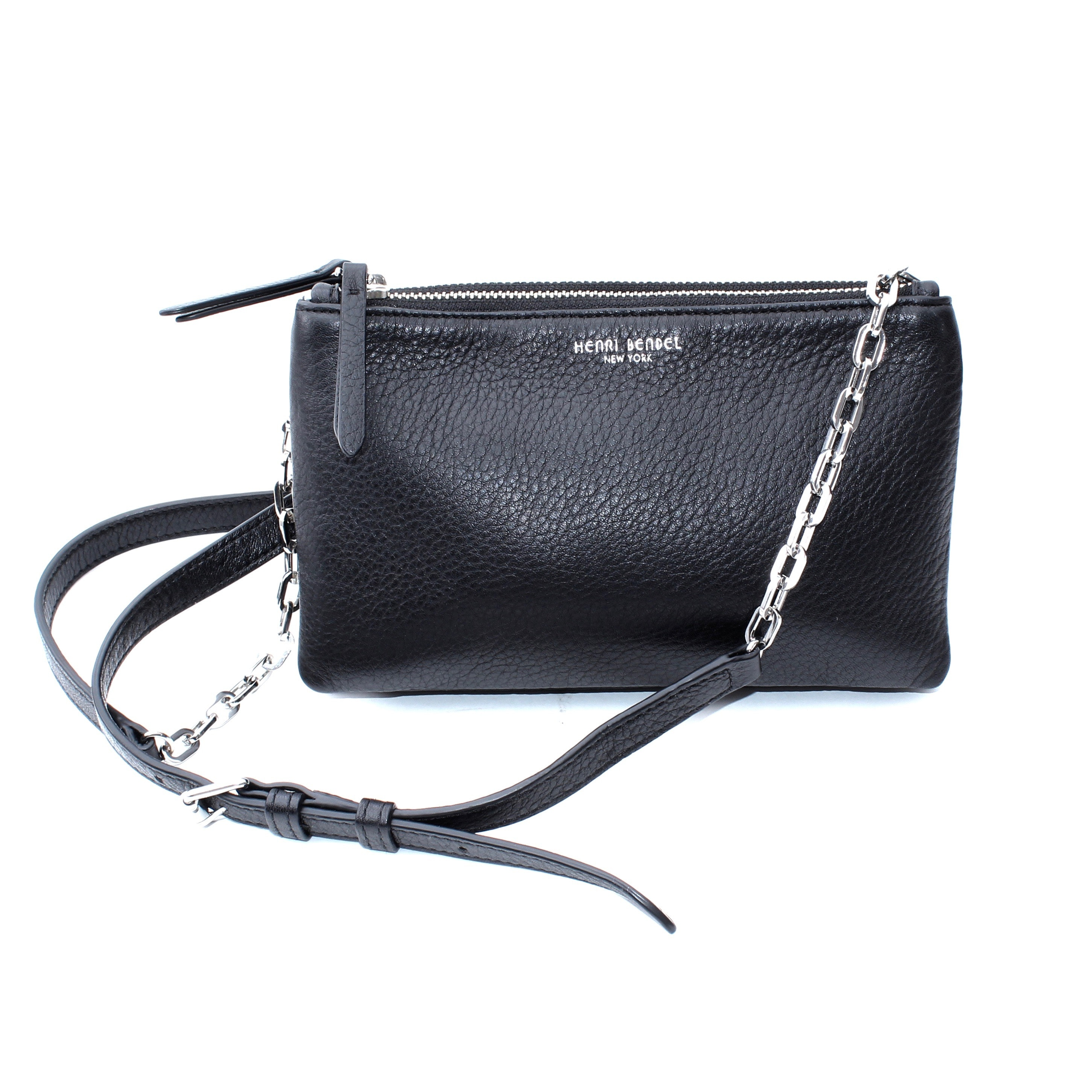 Henri Bendel New York Soho Black Leather Cross Body Bag
