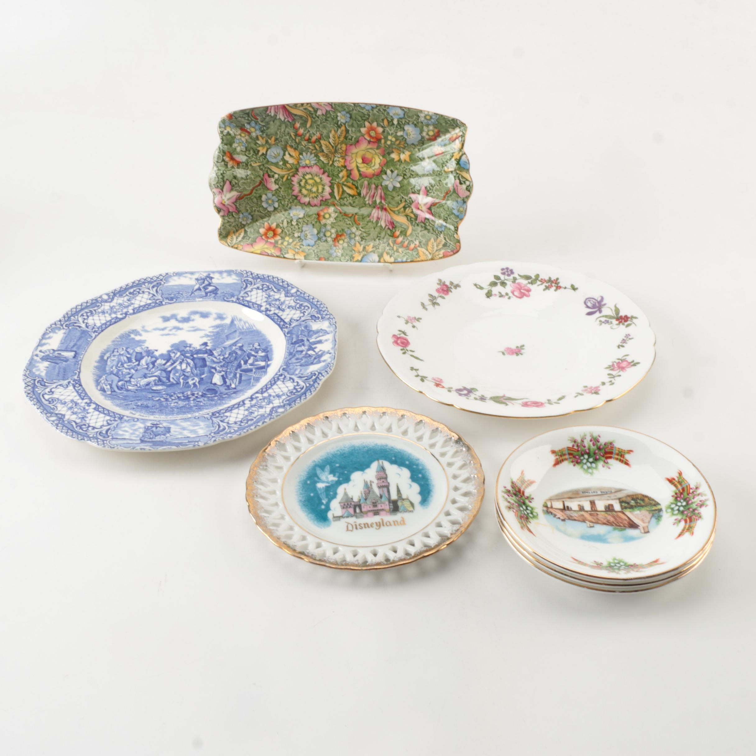 Vintage Porcelain Plates and Tray Including Royal Winton
