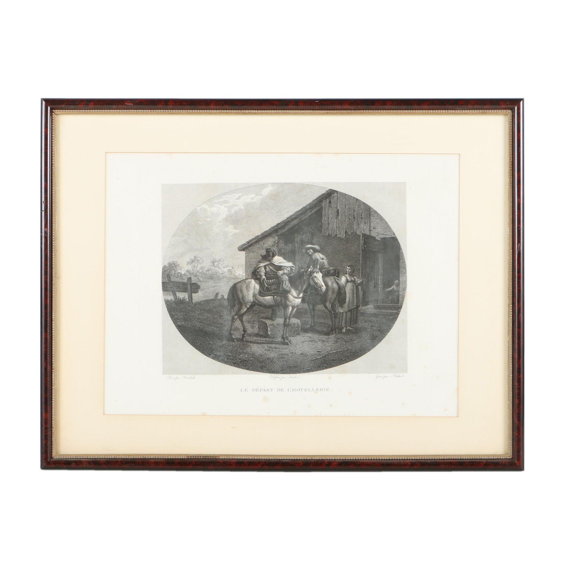 """Engraving After Pieter van Laer's """"Le Depart de L'Hotelerrie"""""""