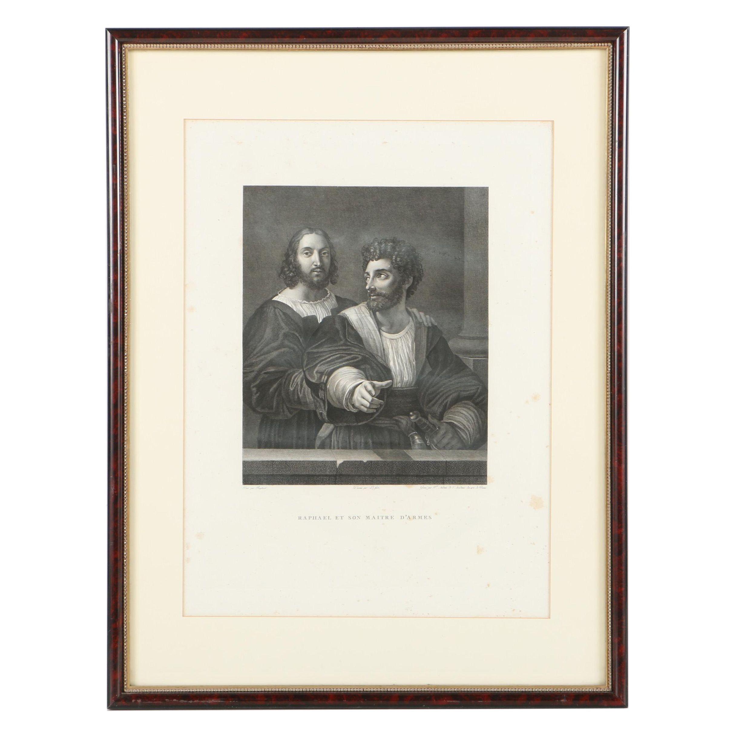 """Intaglio Print on Paper After Raphael """"Raphael et Son Maitre D'Armes"""""""