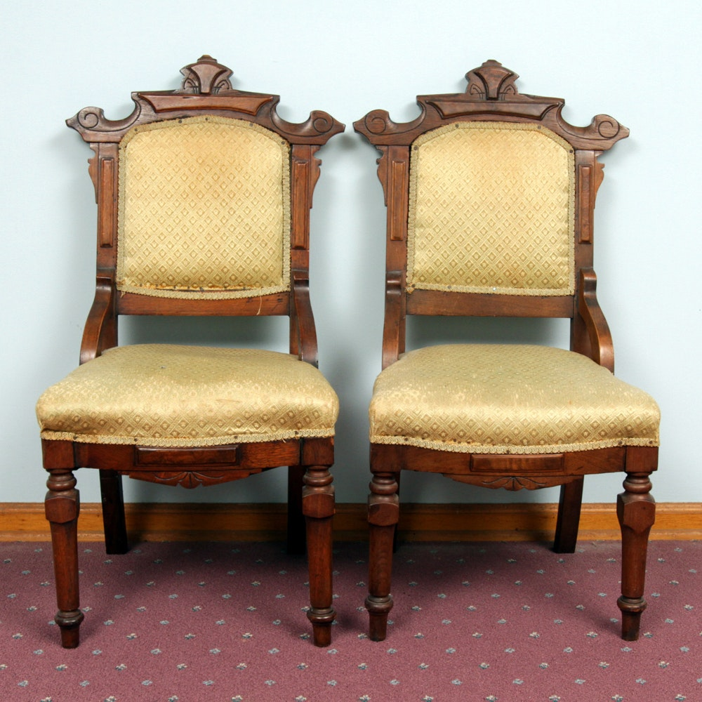 Pair of Victorian Eastlake Walnut Framed Chairs