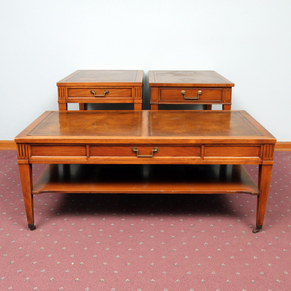 Mid Century Faux Leather Top and Cherry Coffee Table and End Tables