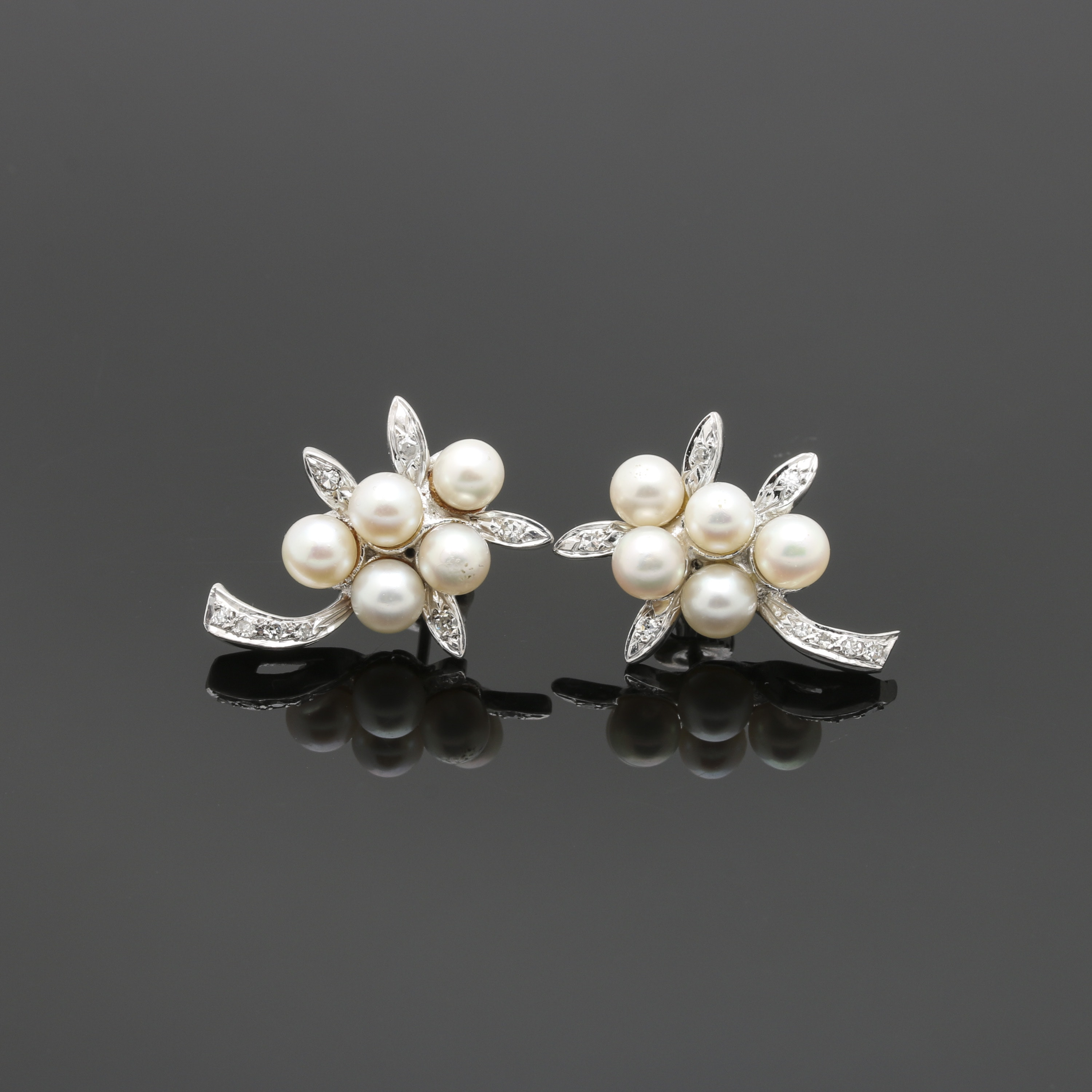 Palladium Cultured Pearl and Diamond Foliate Earrings with White Gold Accents